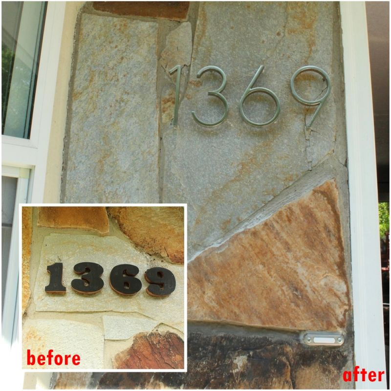 DIY Install House Numbers - before and after