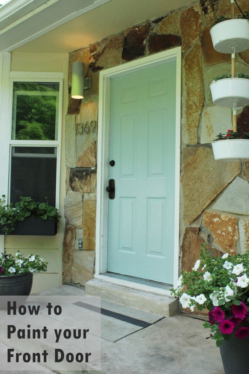DIY Paint Front Door - Turquoise shade