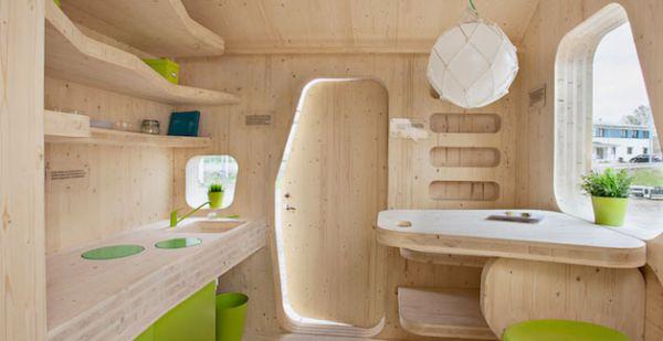 Eco friendly student unit desk and kitchen