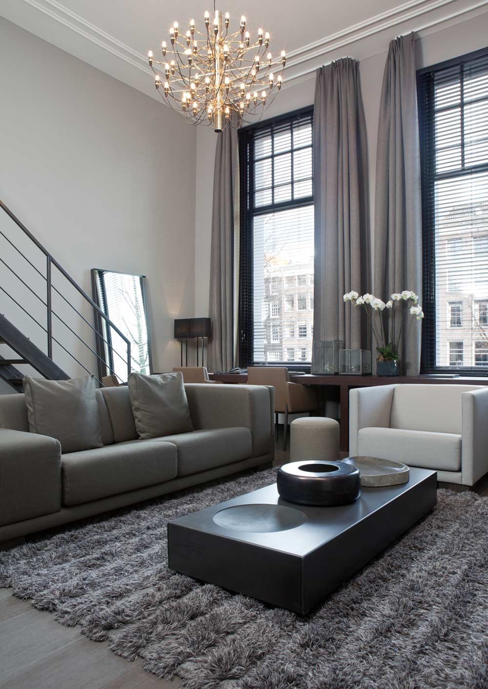 Rèm phòng khách màu xám