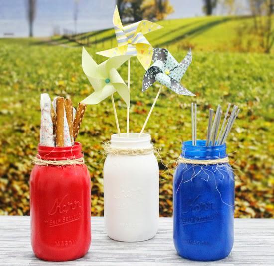 Mason jars painted on patriotic colors