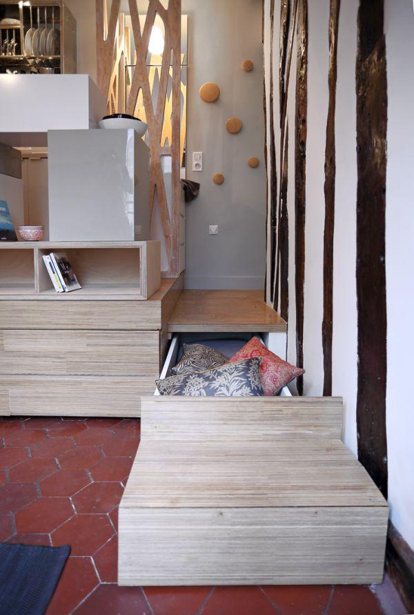 Mini 12sqm studio apartment design stairs storage