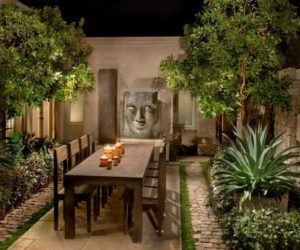 Outdoor dining area with an Asian influence
