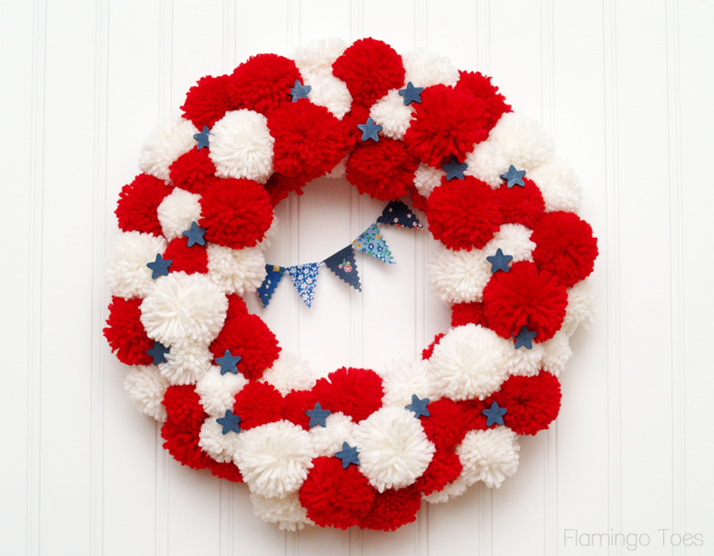 Pom pom patriotic wreath