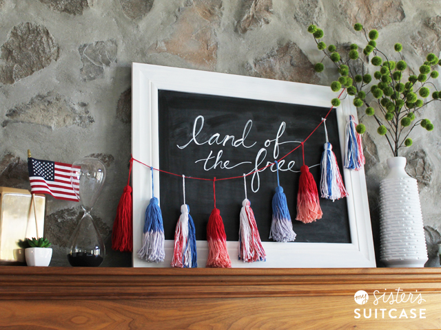 Red and white blue tassels
