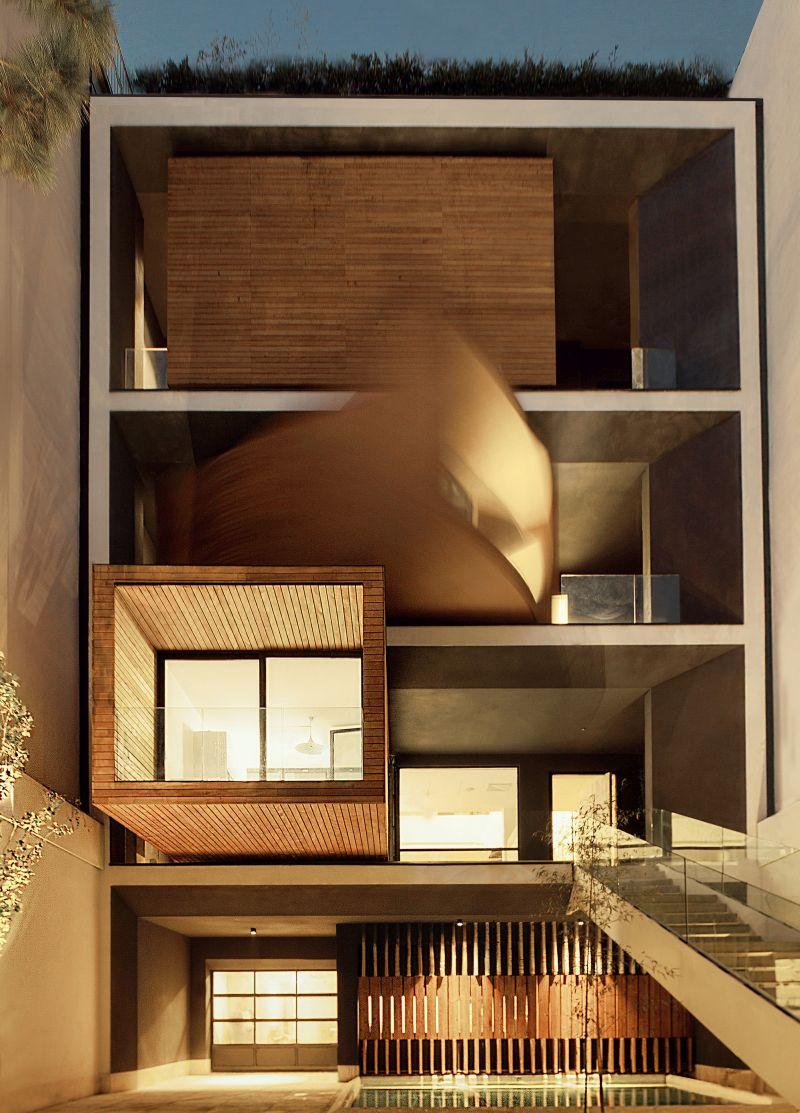 Sharifi-ha House with sliding balcony