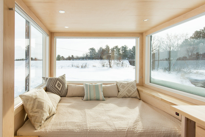 Small tiny home on wheels bed