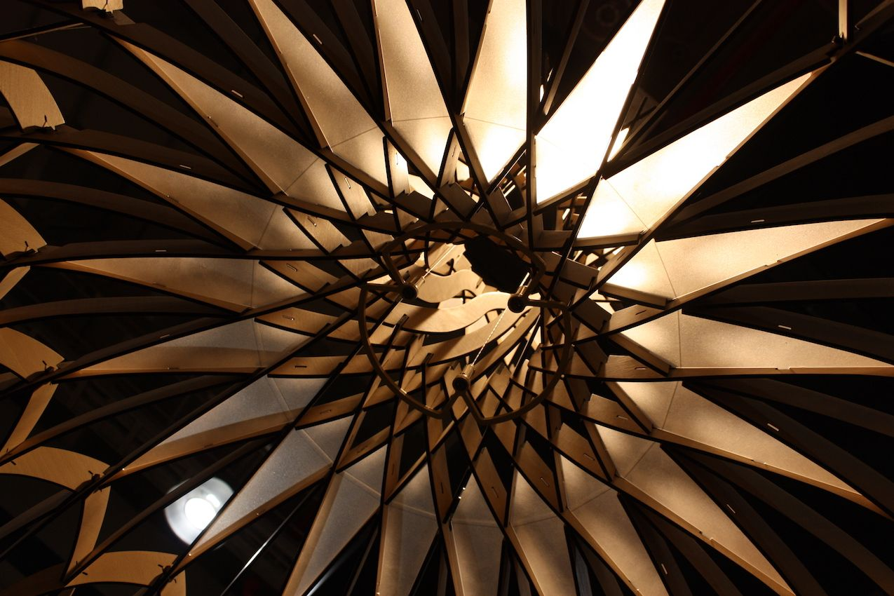 From underneath, the DOME is just as spectacular. The geometric design resembles a complex flower.