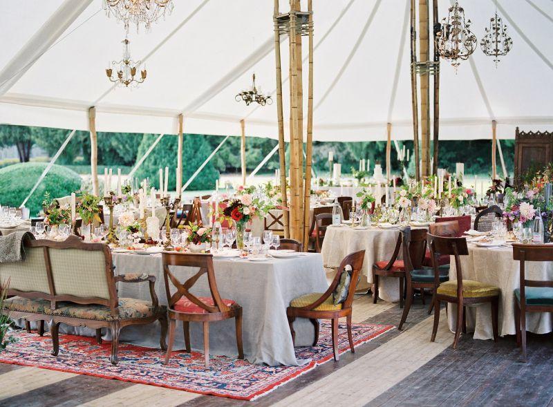 Beautiful wedding tent with bamboo sticks