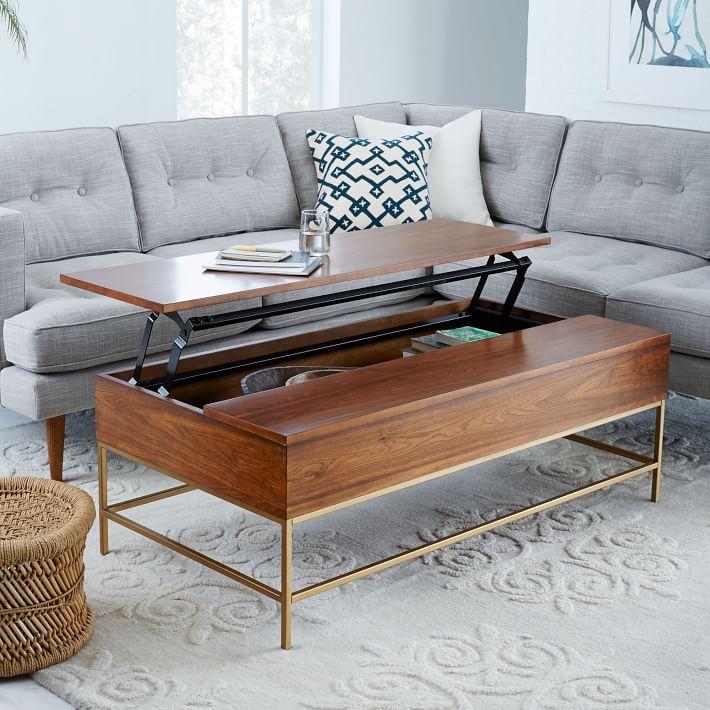 Brass Storage Coffee Table - Walnut