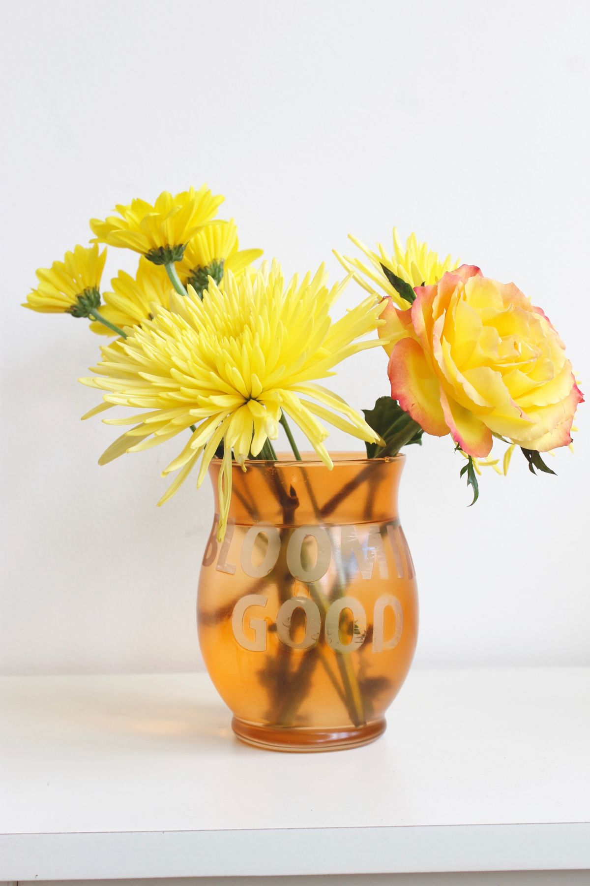 Colorful Etched Vases Orange
