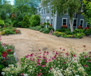 Front yard of the house with flowers and driveway gravel