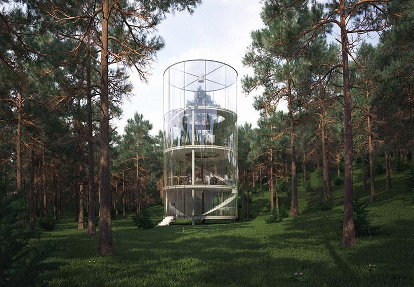 Glass tree house in kazakhstan