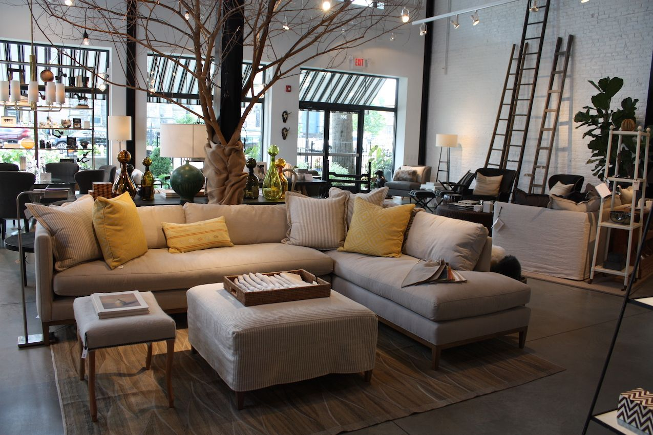 Touches of nature give the store an organic backdrop for all of the versatile, comfortable pieces. The design of this large sofa comprises just two pieces and is invitingly overstuffed and casual. Bring on the popcorn and Netflix!