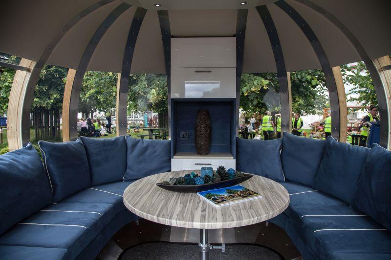 Interior of futuristic garden lounge
