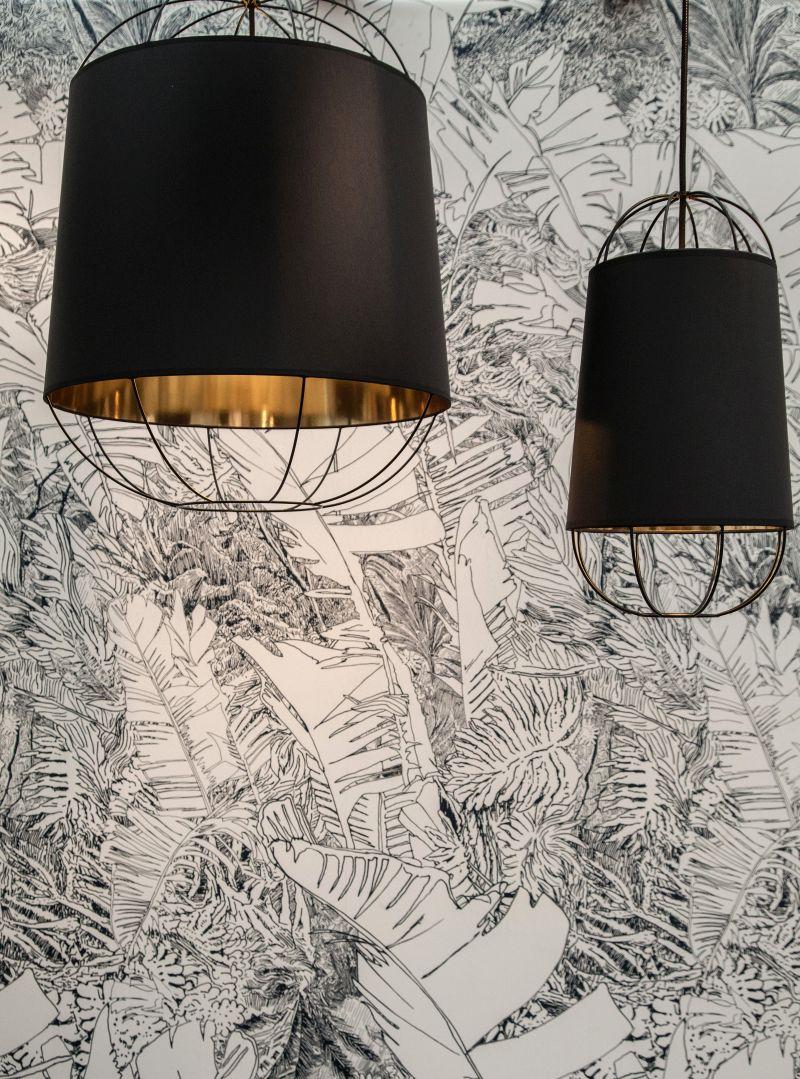 Lanterna modern pendant lighting in black and gold inside