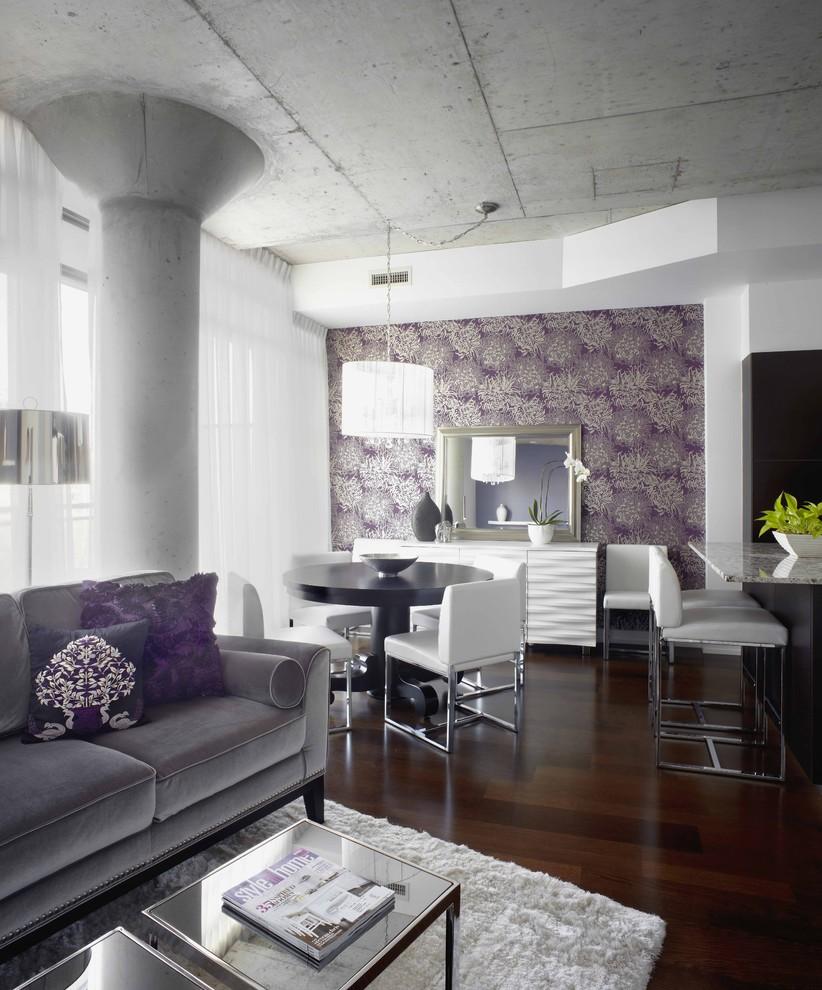Large concrete column for living room - levender accents