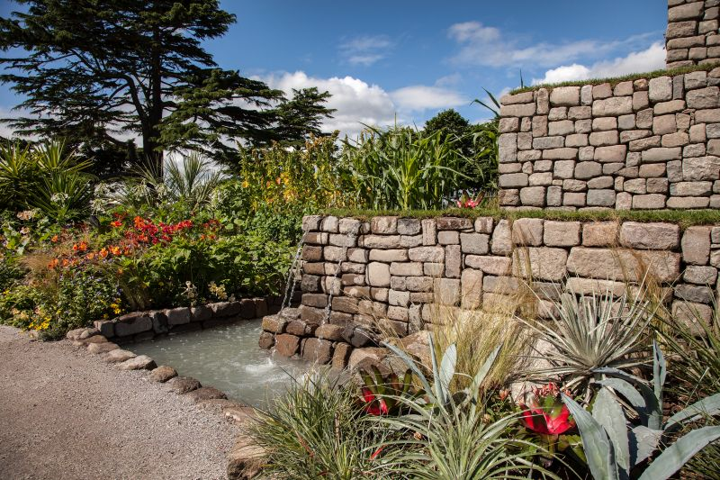Large river rocks used for a water feature