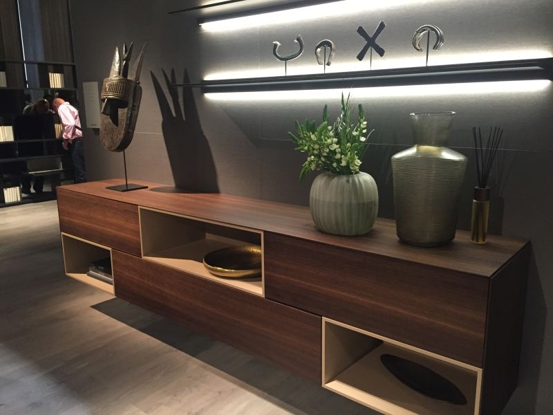 Living room shelves above sideboard with High-Efficiency LED Lighting