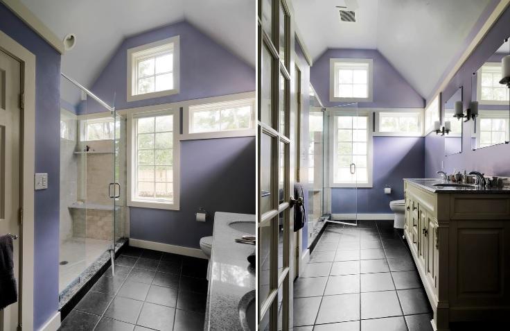 Master bathroom with levender walls