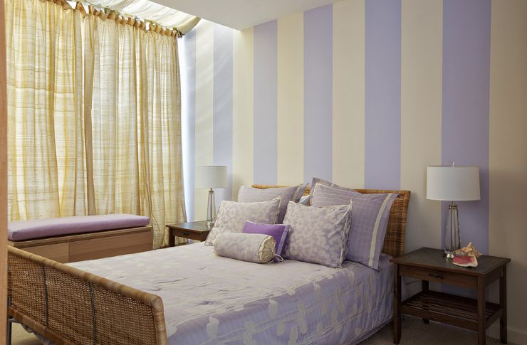 Striped levender bedroom walls