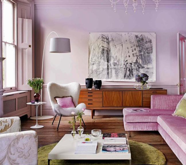 Trendy levender living room