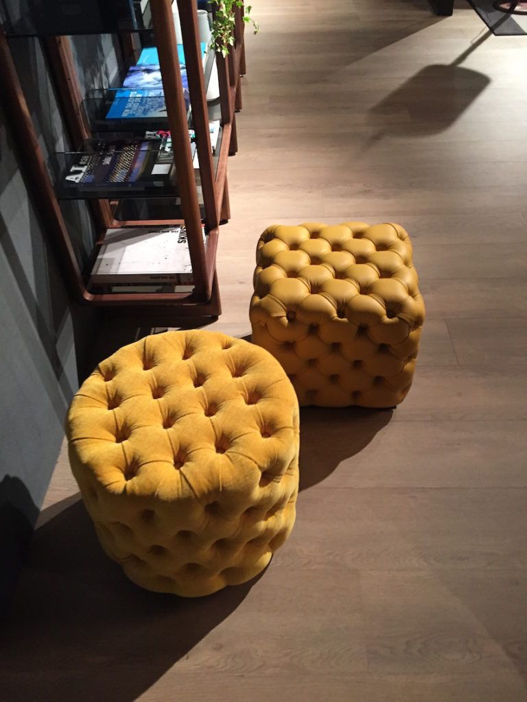 Tufted Yellow Poufs