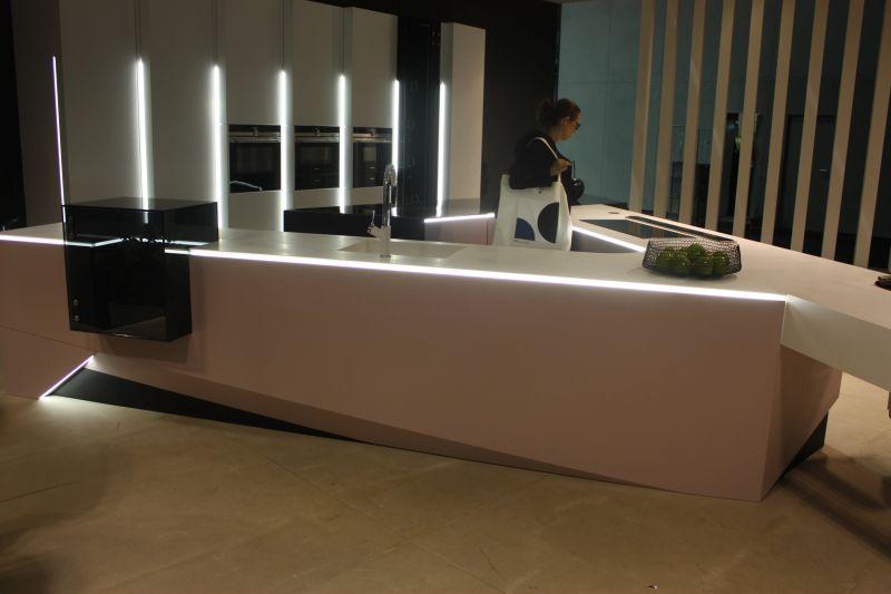 White kitchen design with LED strip light