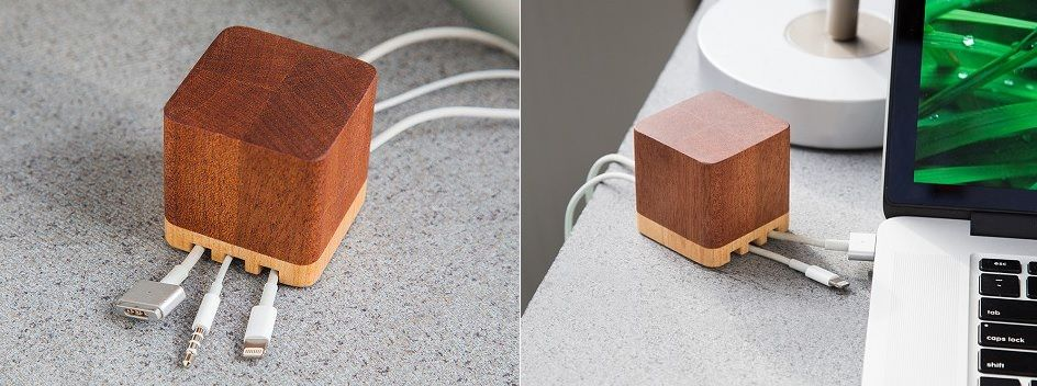 wooden Cable Holder and Organizer