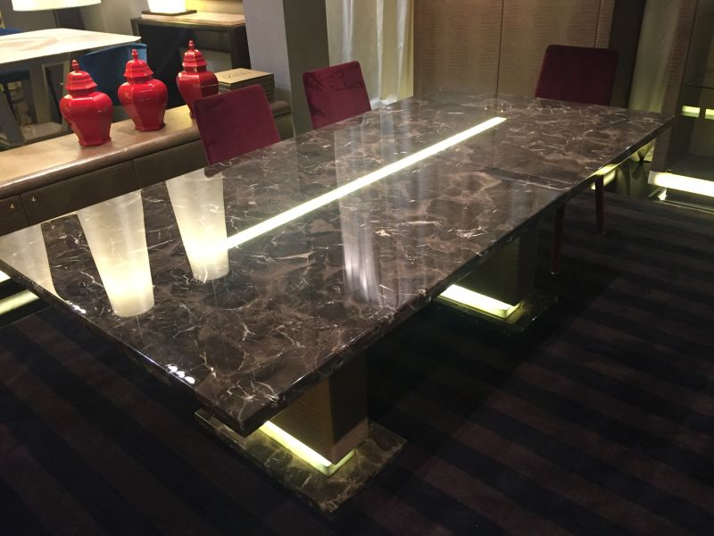 Brown Lenzi Marble Dining Table