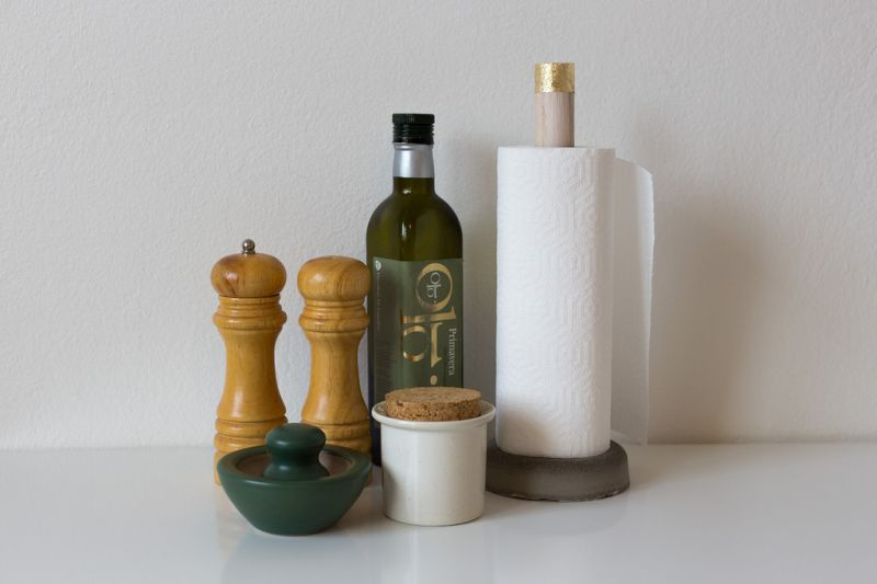 Concrete and wood paper towel holder