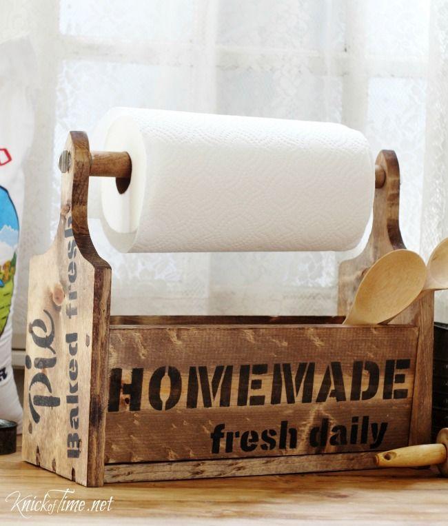 Farmhouse wooden tote towel paper storage
