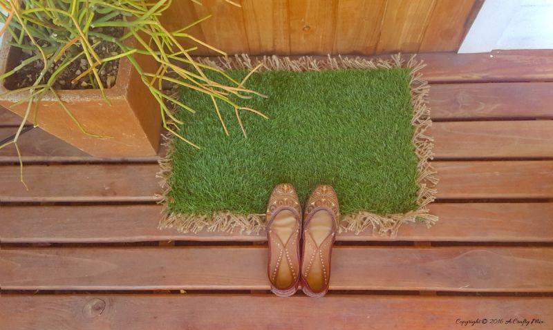Green custom doormat