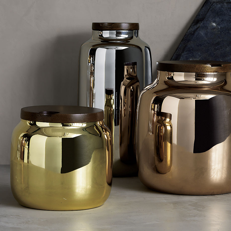 Metallic mirrored canisters