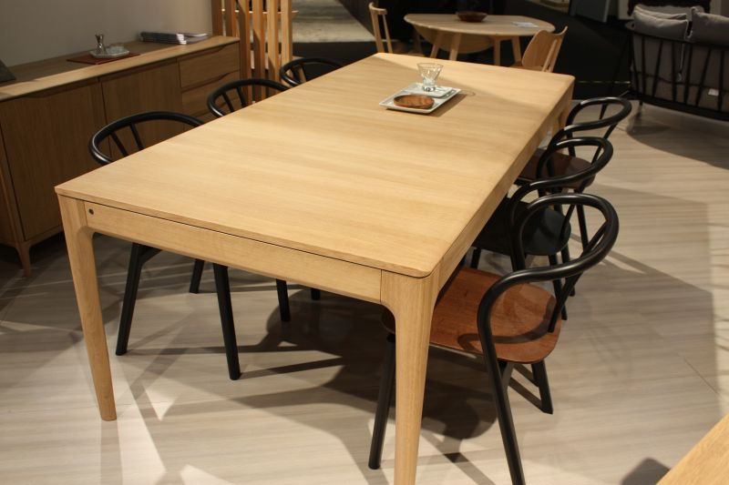 Natural color wood dining table