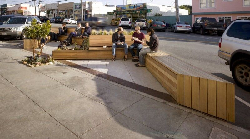 Noriega street parklet bench
