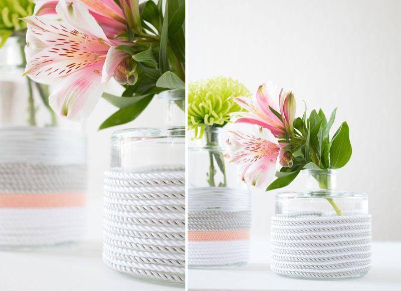 Pastel rope flower vase