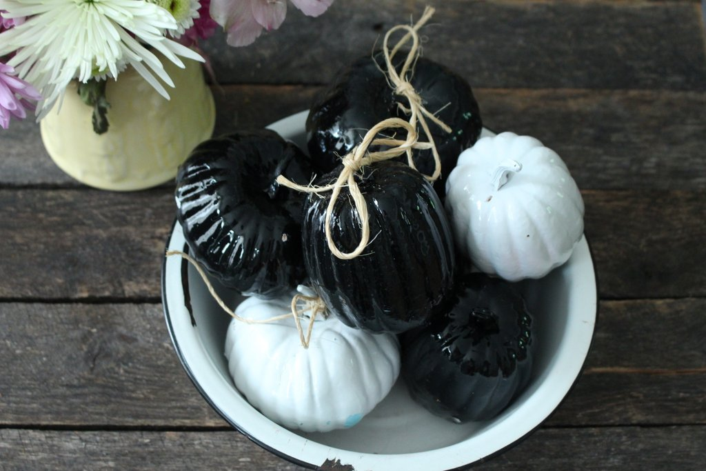 Black and white pumpkins