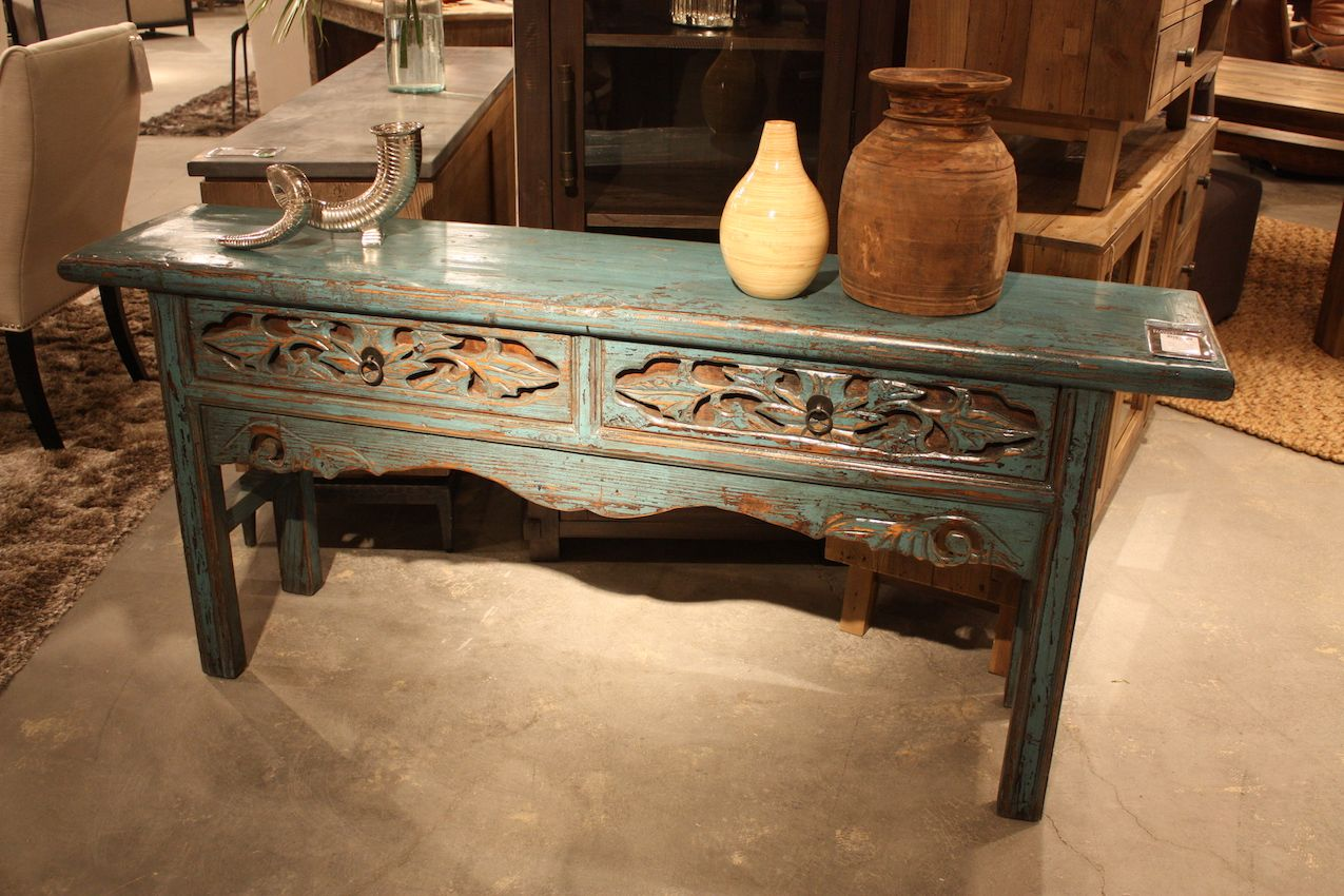 Classic Home Blue Console Table