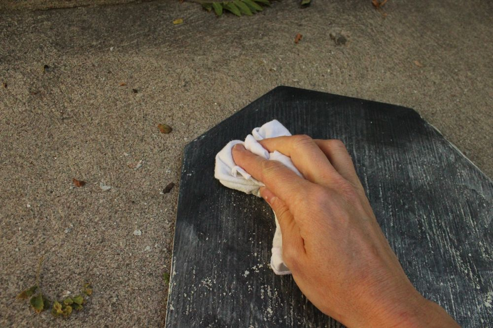 DIY Chalkboard Tombstone - clean cloth
