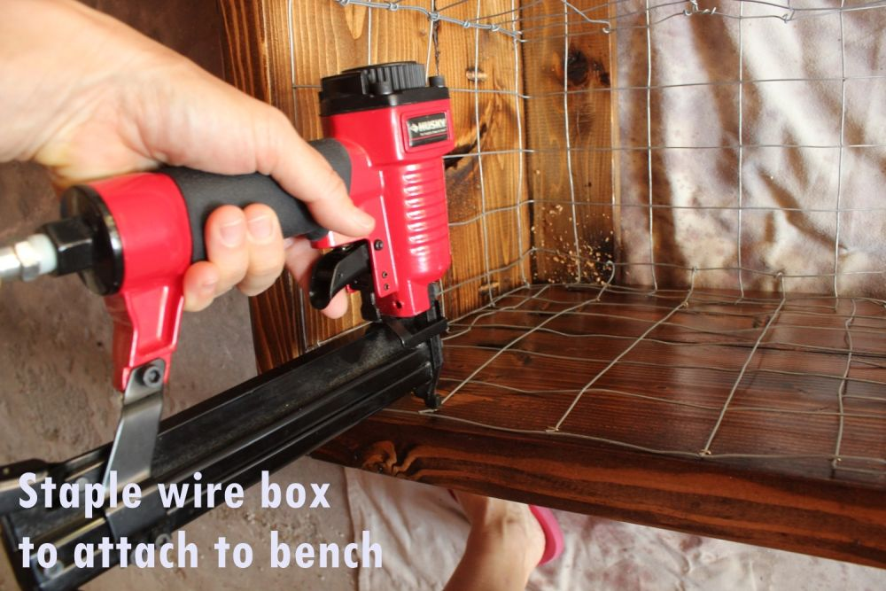 DIY Industrial Bench- staple wire box
