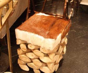 Hair hide dop driftwood stool Go Home