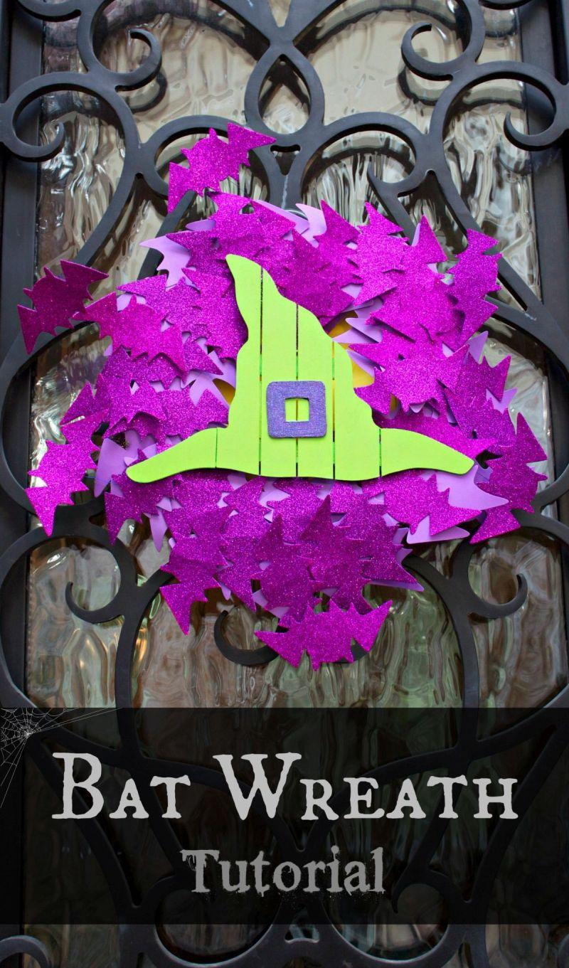 Purple Halloween Front Door Bat Wreath