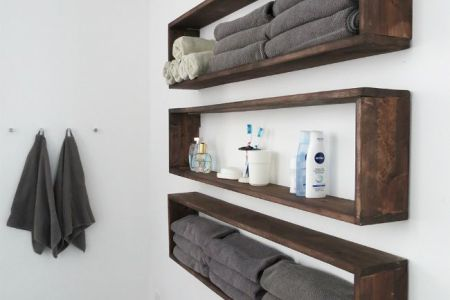 DIY Bathroom Shelves To Increase Your Storage Space Rectangular wall shelves for bathroom View in gallery