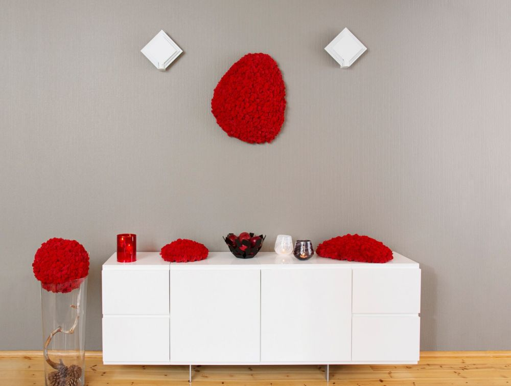 Red Polarmoss on sideboard and wall