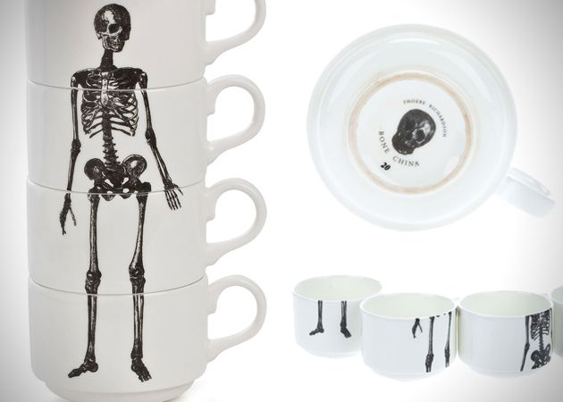 Skeleton Coffee Mug Stack