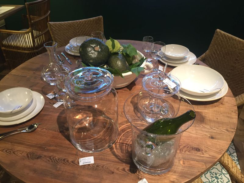 round dining table with glassware