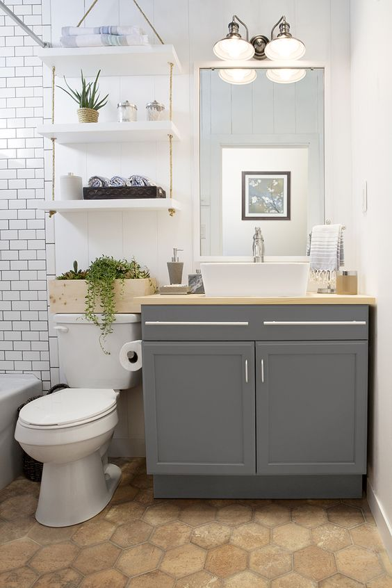 Bathroom above toilet hanging shelves