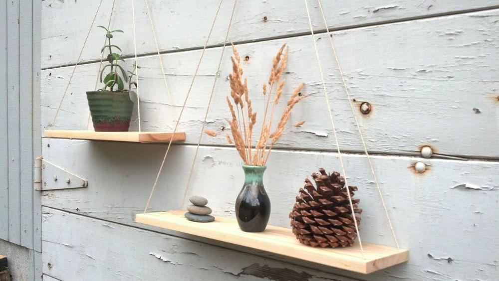 Custom hanging set shelves