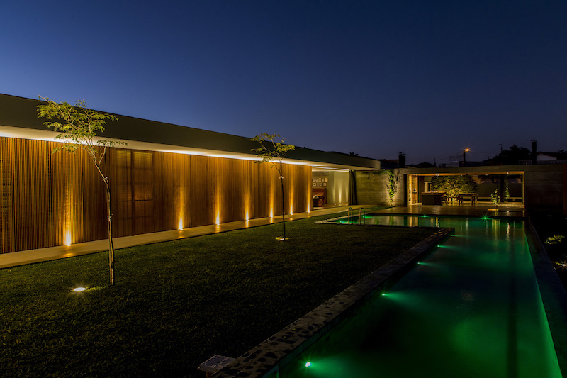 MCNY House pool and lawn at night